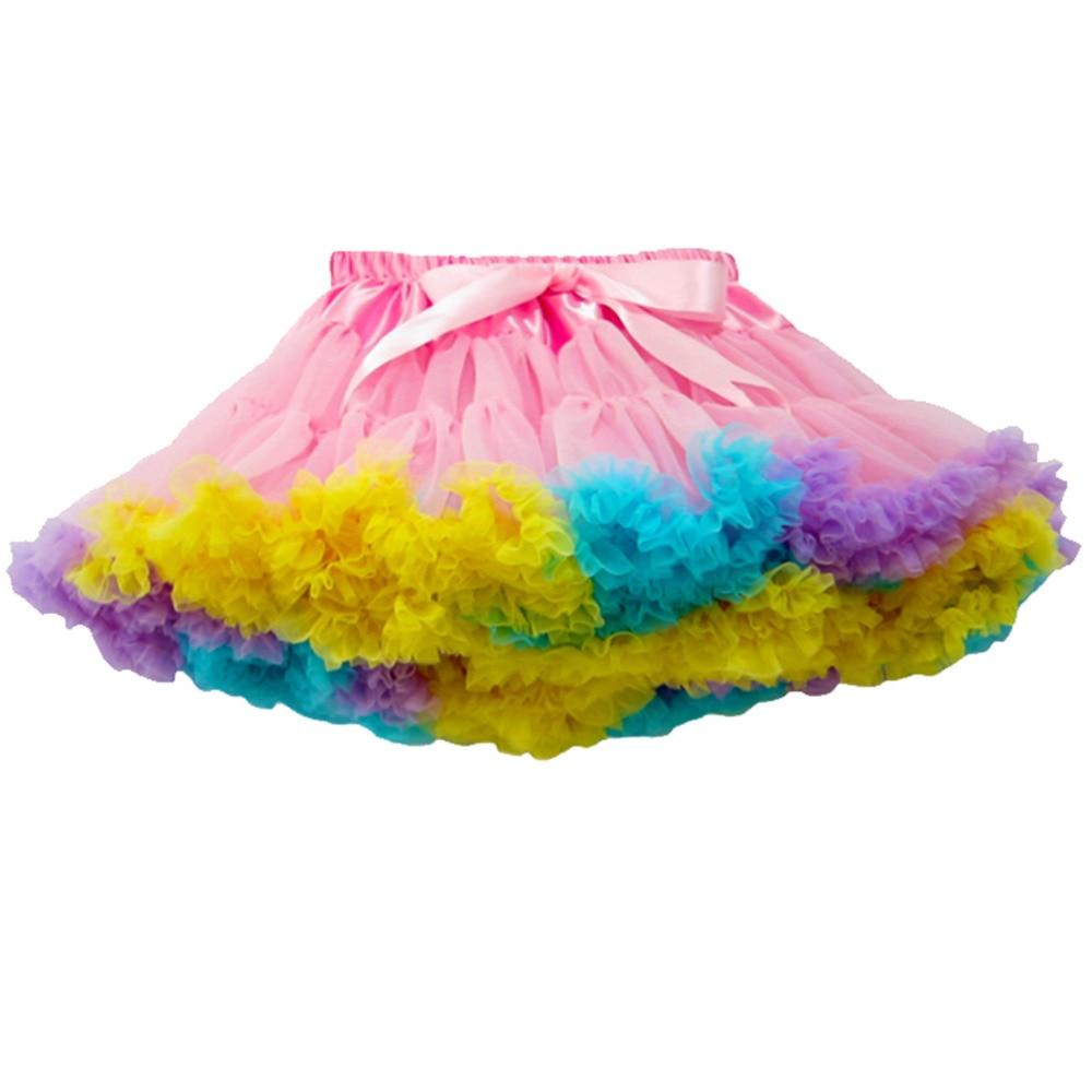 Buenos Ninos 1-10 gadus veci bērni un meitenes meitene Patchwork deja Pettiskirt Tutu svārki Baby Tutu meitenes Svārki Rainbow Tutu Saia