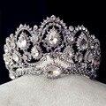 2016 Роскошный полный горный хрусталь кристалл посеребренные сплава оголовье для женщин свадебные диадемы корона свадебные аксессуары для волос ювелирные изделия