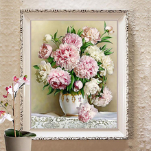 Needlework,DIY DMC Cross stitch,Sets For Embroidery kit 9ct 11ct printed cotton silk thread Peony Lily Counted Cross-Stitching