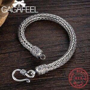 Image 2 - GAGAFEEL hakiki 100% gerçek saf 925 ayar gümüş erkekler bilezikler kenevir halat Vintage el yapımı tay gümüş erkek takılar güzel hediye