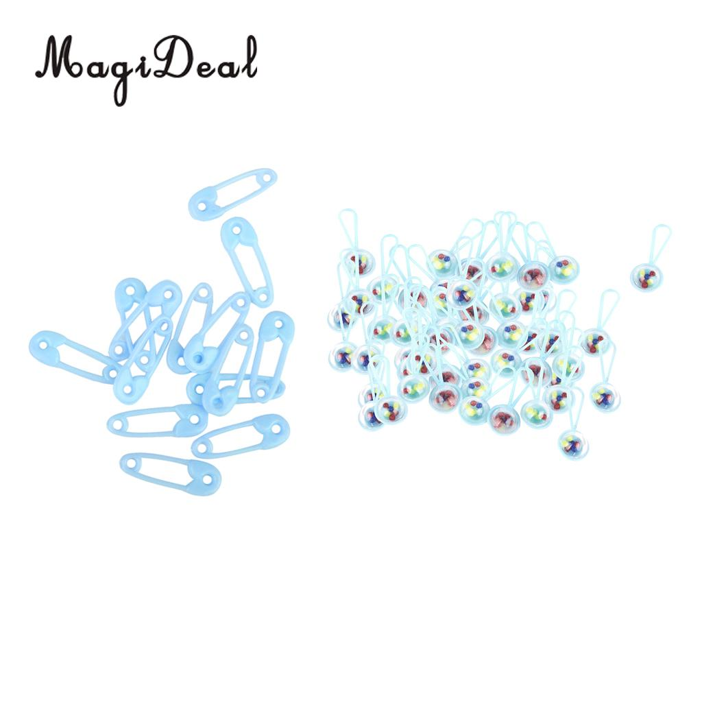 100 Pcs Safety Pin+Baby Rattles Baby Shower Decorations Baby Party Favor Gender reveal Party Gift Favor Table Decor Blue