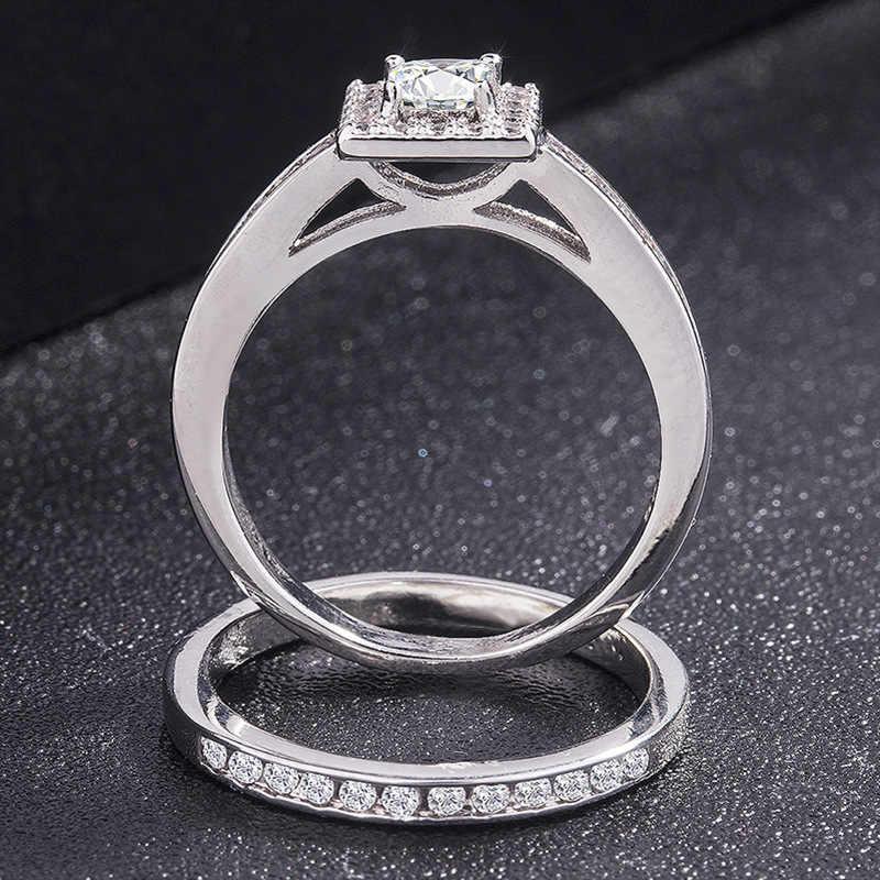 S925 Sliver แหวนเพชรชุดผู้หญิง Bizuteria ของ Anel อัญมณี Topaz 925 เงินสเตอร์ลิงเครื่องประดับแหวนพลอยหญิง