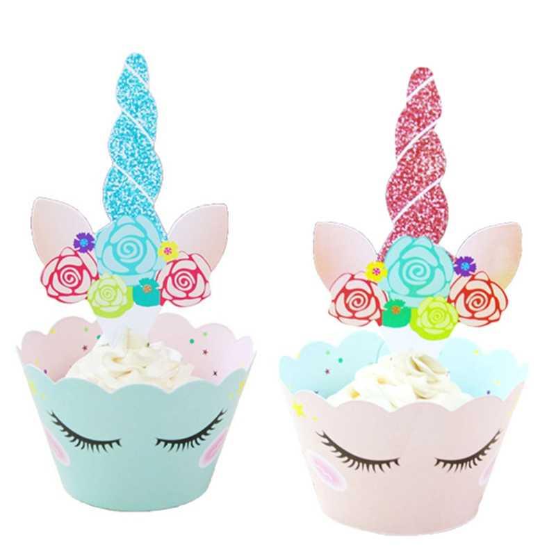 12 комплектов в партии Единорог ананасовый торт топпера, обертки для кексов для именинного пирога для украшения детского душа Единорог вечерние поставки