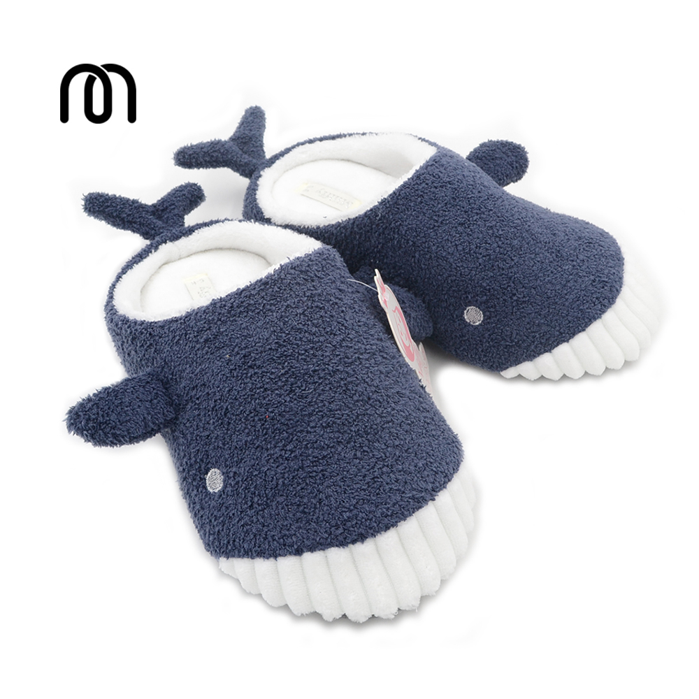 Millffy Cute Whale Plush Slippers Autumn And Winter