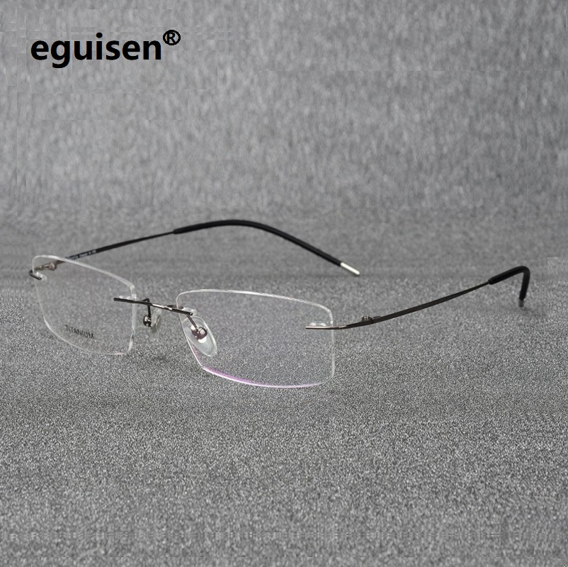 52-18-140 Ultra Pure Titanium Rectangular Square Rimless Eyeglasses Frame For Men And Women Equipped  Myopia Spectacle Frame6210