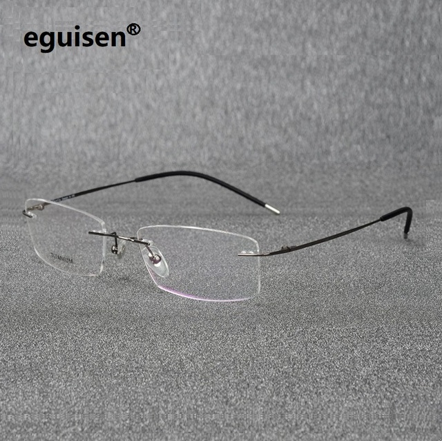 bd8760b6aade 52-18-140 ultra pure titanium rectangular square rimless eyeglasses frame  for men and