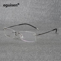 52 18 140 ultra pure titanium rectangular square rimless eyeglasses frame for men and women equipped myopia spectacle frame6210