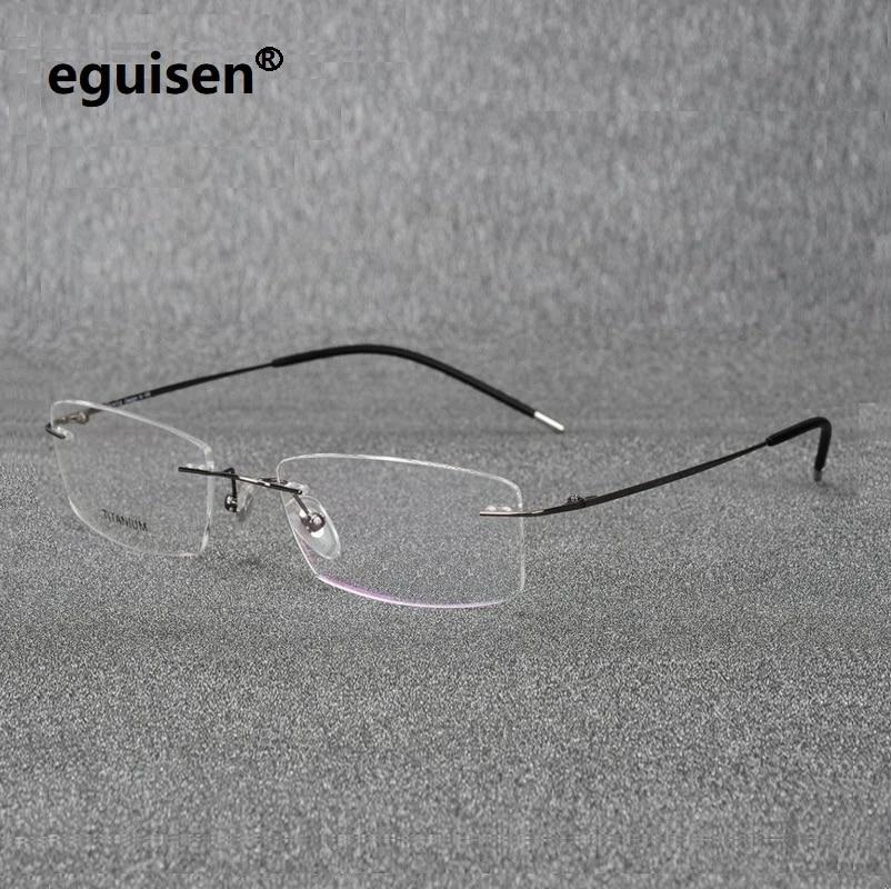 PENG Gafas de Montura Rectangular sin Montura de Titanio ultraligeras Gafas Montura de Gafas Gafas