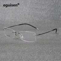 ad4e0cd91b 52-18-140 ultra pure titanium rectangular square rimless eyeglasses frame  for men and