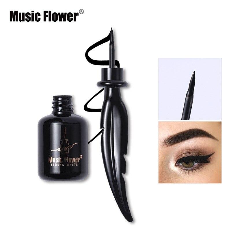 Eyeliner Music Flower Brand Eyes Makeup Tattoo Seal Liquid Eyeliner Pen Waterproof Matte Black Stamp Wanton Eye Liners 24hr Long-lasting