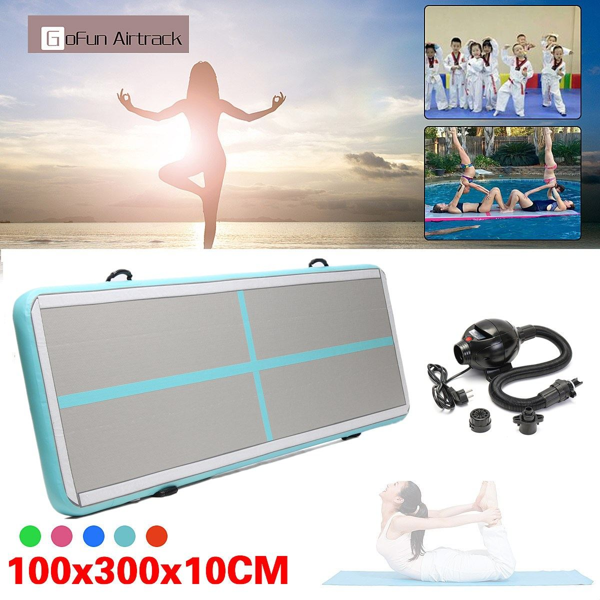 Newest 100x300x10cm Inflatable Tumble Track Trampoline Air Track Taekwondo Gymnastics Inflatable Air Mat free shipping 6 2m inflatable tumble track trampoline air track gymnastics inflatable air mat come with a pump