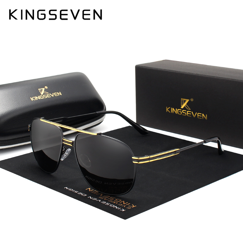 KINGSEVEN Brand Classic Polarized Sunglasses Men Driving Alloy Frame Sun Glasses Male Goggles UV400 Gafas