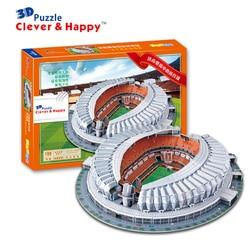 Puzzle 3d diy giocattolo modello di costruzione di carta cina sport calcio calcio ShanDong JiNan Stadio assemblare gioco lavoro a mano regalo del capretto set
