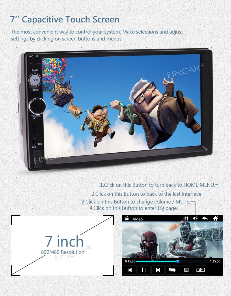 HD 7 2 DIN in Dash Bluetooth Car Stereo MP5 Player MP3/ MP4/USB/TF/FM Radio Entertainment Video Music Playing+Rear View Camera