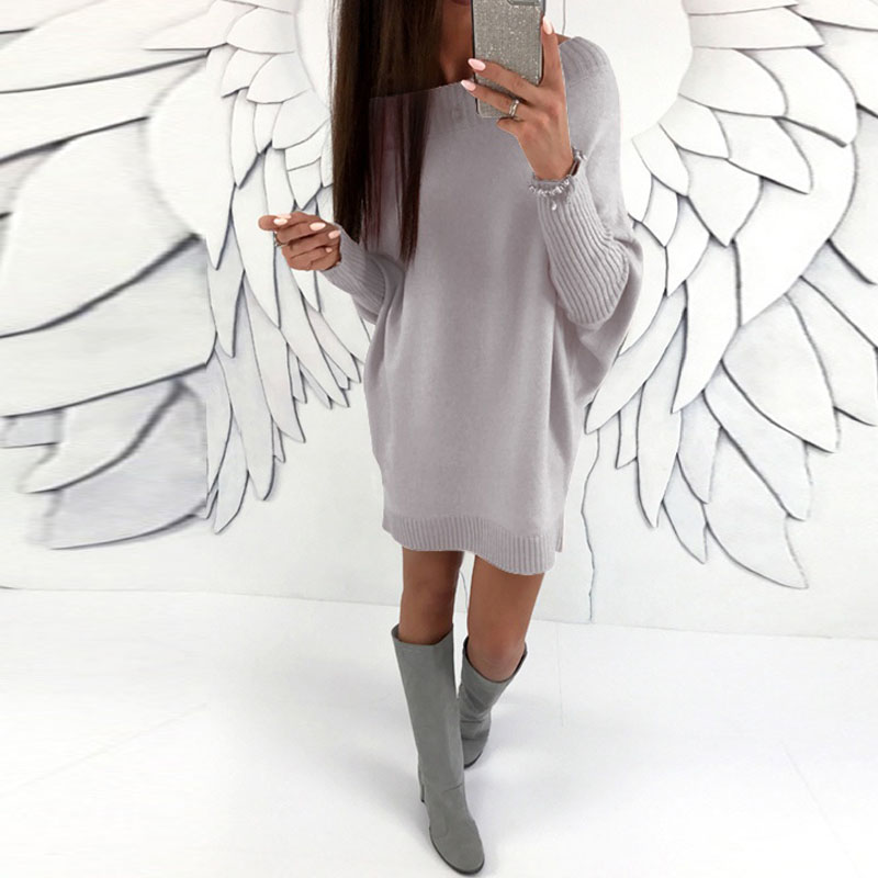 Winter Women O Neck One Shoulder Pull Jumper Batwing Sleeve Knitted Pullover Party Sweater Dress Mini Vestido Baggy Robe S-3XL 2016 women s clothing fashion in europe and the atmosphere bohemia elasticity knitted cultivate one s morality dress