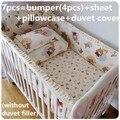 Desconto! 6 / 7 pcs bebê berço cama 100% algodão crianças conjuntos de cama berço pára choques fundamento do bebê conjuntos, 120 * 60 / 120 * 70 cm
