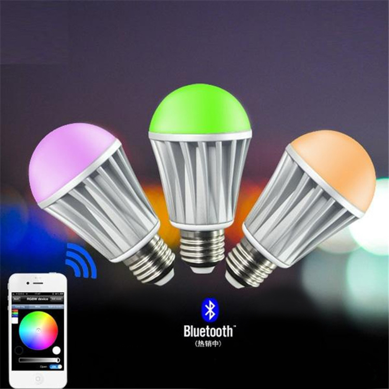 Bluetooth LED Bulb Alunimun body 7.5W E27 RGBW Bluetooth 4.0 Smart LED Light Color Change Dimmable by IOS / Android APP. change translated by howard goldblatt