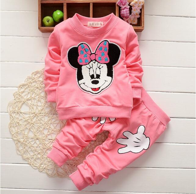 New Baby Girls Minnie Clothing Sets Autumn Casual Cotton Kids Clothes Long Sleeve Shirt + Pants Suit Children Clothing Sets baby girls clothing sets cartoon minnie mouse winter children s wear cotton casual tracksuits kids clothes sports suit hot
