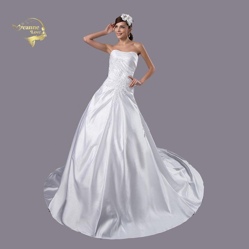 US $102.75 25% OFF White Women Satin Wedding Dresses Plus Size 2019 Bridal  Gown For Weddings Corset Hochzeit Kleider Vestido Novia Encaje J18500-in ...