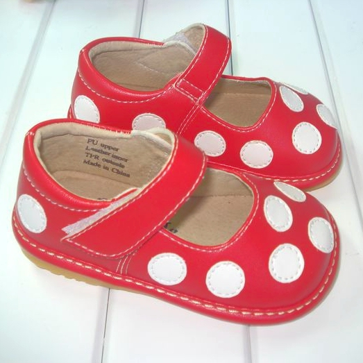 Red with White Polka Dots Squeaky Shoes Free Shipping Baby Leather Shoes 1-3Y Toddler Shoes