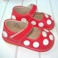 Rojo con Lunares Blancos Squeaky Shoes Envío Gratis Zapatos de Cuero Del Bebé 1-3Y Zapatos Del Niño