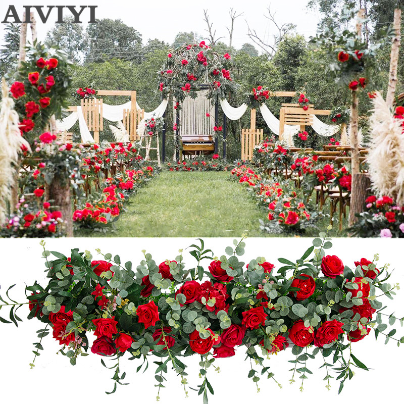 Wedding decoration artificial flower rose olive leaf wedding T stage road arching flower Home party background decoration Wedding decoration artificial flower rose olive leaf wedding T stage road arching flower Home party background decoration