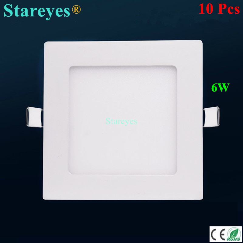 Free shipping 10 pcs Square LED Panel Light 6W AC85 265V 120mm 420LM SMD 2835 lamp