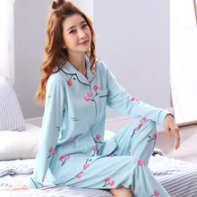 Cotton Pajamas Set Women Sexy V Neck Pyjamas Cartoon Bunny Print Long Sleeves Shirt Pant Crown Blinder 3Piece/Set Autumn/Summer