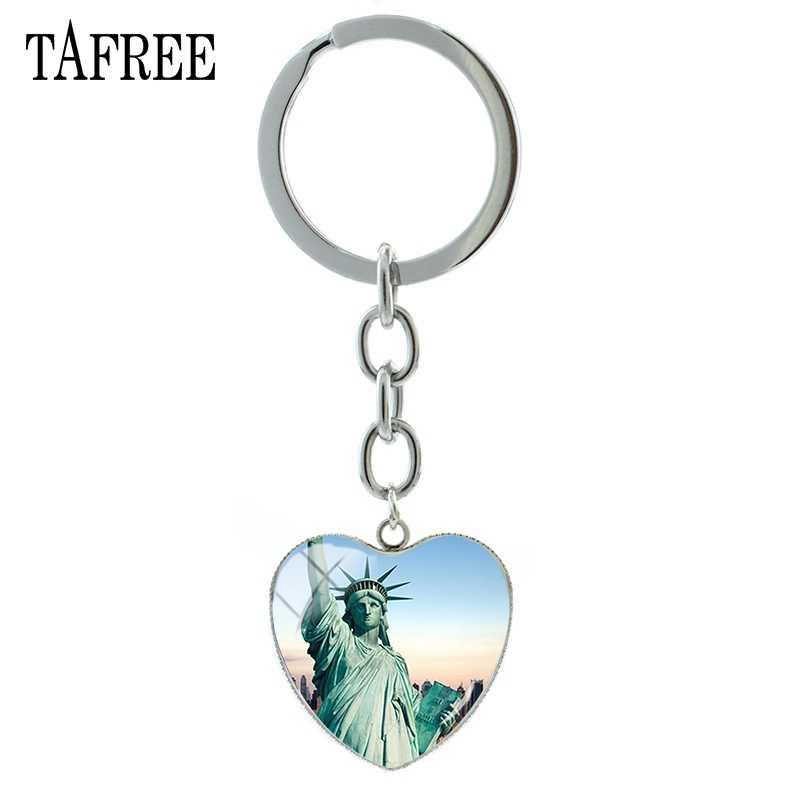 Estátua da Liberdade TAFREE Vista América Famosa Escultura Pingente de Coração Chave Chaveiros Cadeia homem mulher presente de aniversário Jóias FA598