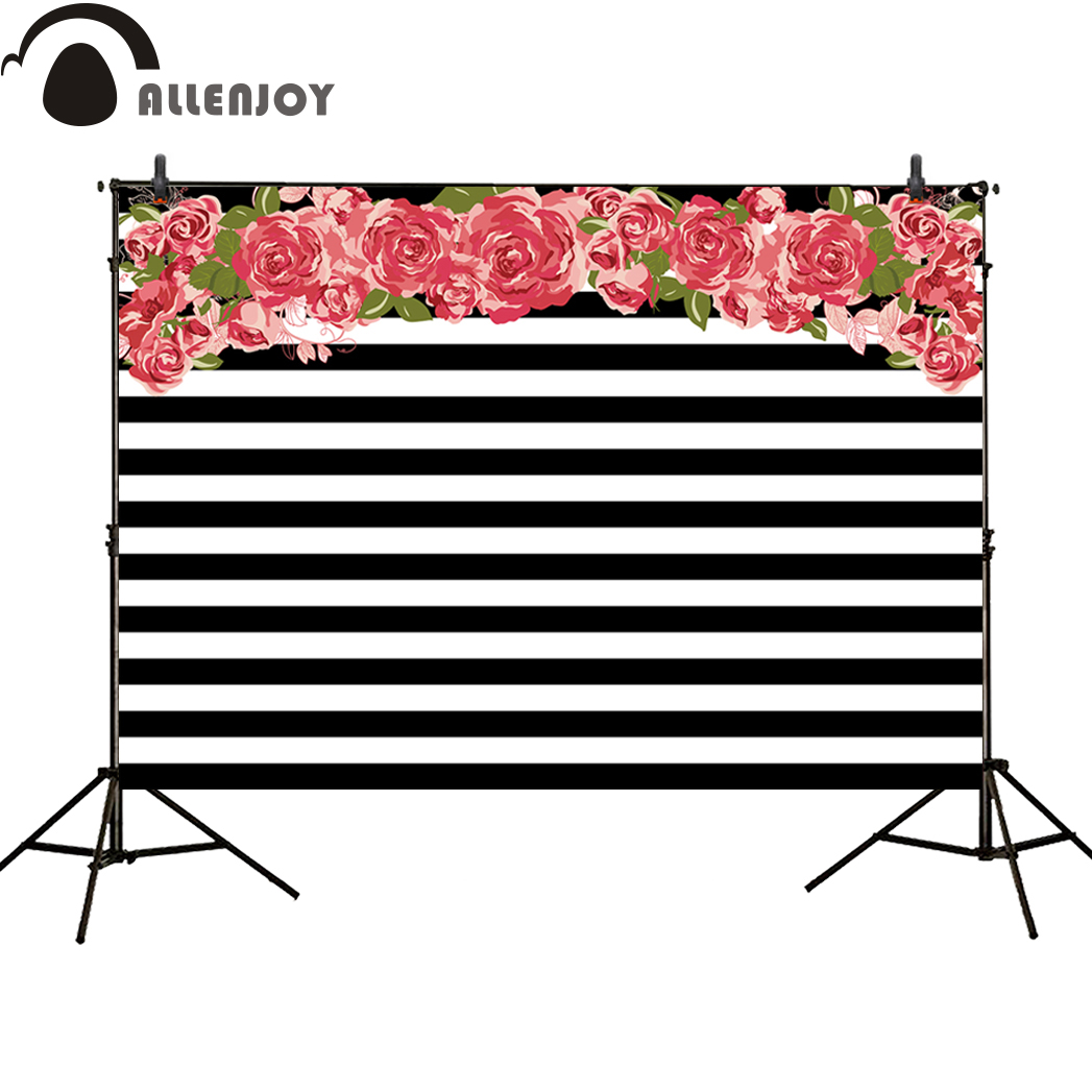 Allenjoy photography backdrop white and black stripes flower wedding party banner new for photobooth a photo shoot backgrounds