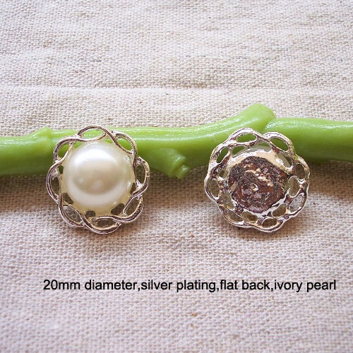 (L0432-20mm) free shipping wholesale 20pcslot, metal button,20mm diameter,ivory pearl