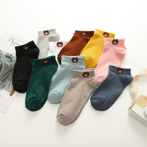 Image 3 - 10 Pairs/set Cotton Women Short Socks Casual Summer Female Ankle Socks Solid Color Little Bear Pattern Size 35 39