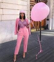 NEW Dark Pink 2 Piece Set Women Business Suits Ladies Office Suits Women Tuxedo Trouser Suit Formal Evening Wedding Suits
