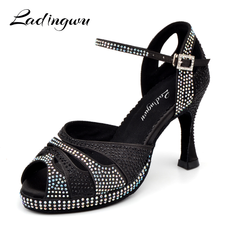 Dance Shoes Latin Women's shoes High Platform Glitter Rhinestone And Women Satin Ballroom Dance Sandals High Heels 9cm Black the new diamond women adult shoes latin dance shoes satin tango ballroom dance shoes high heels