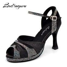 Dance Shoes Latin Women's shoes High Platform Glitter Rhinestone And Women Satin Ballroom Dance Sandals High Heels 9cm Black
