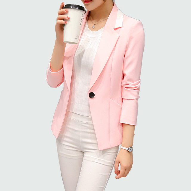 US $22.08 |Women Blazers And Jacket 2017 New Long Sleeves Office Lady Single Button Blazer Feminino Plus Size (bright Pink Dark Pink) in Blazers