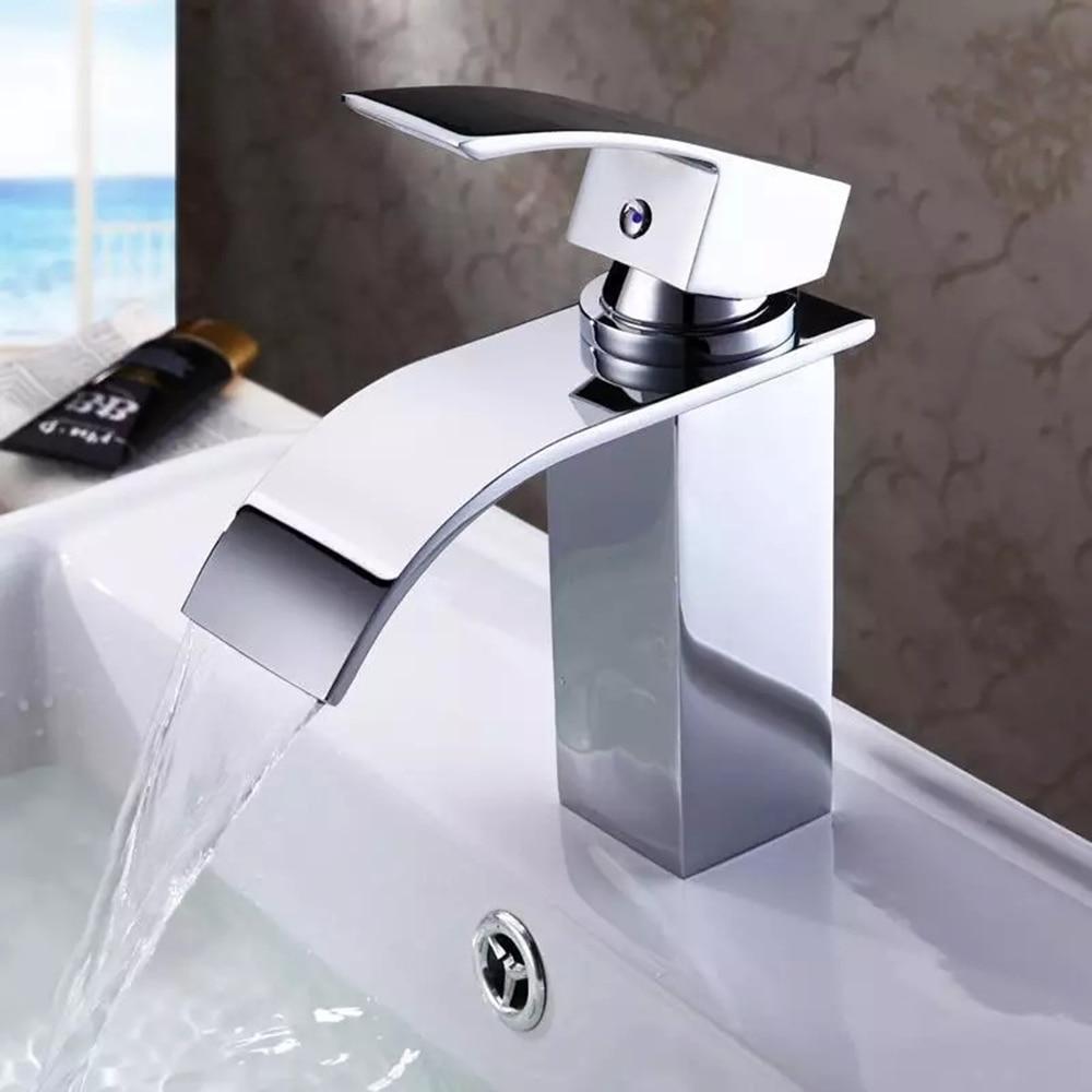 waterfall sink faucet chrome single handle single hole mixer bathroom