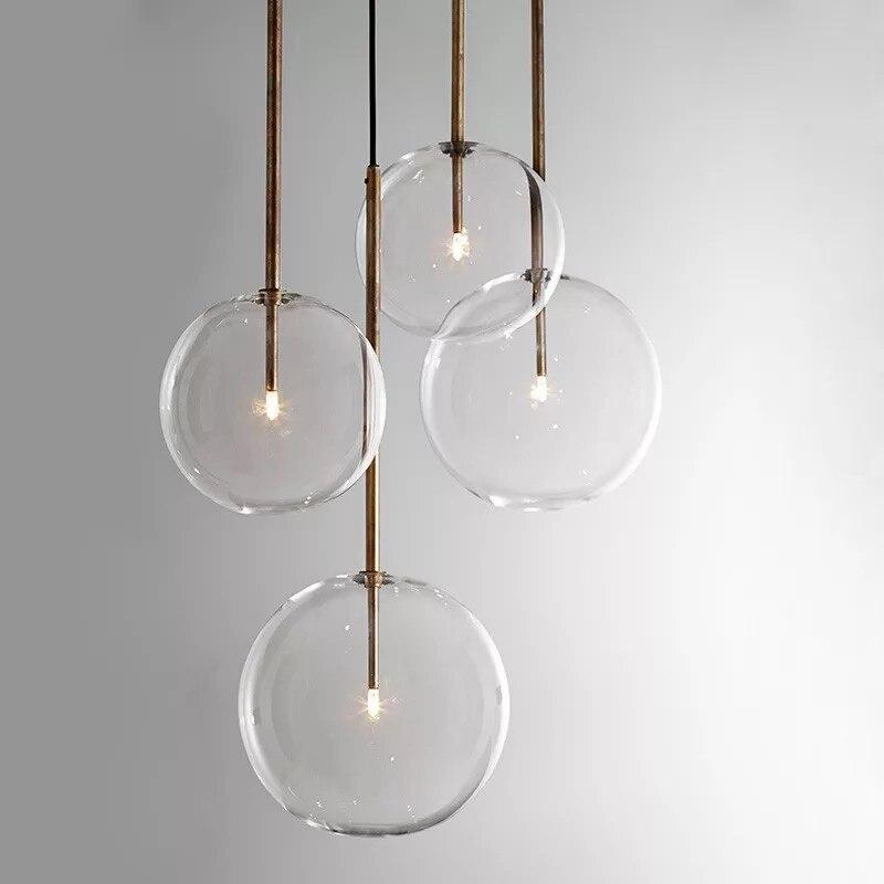 Işıklar ve Aydınlatma'ten Kolye ışıkları'de Modern LED kolye Işıkları Şeffaf Cam Salonu Hanglamp Restoran Mutfak Kolye lamba çubuğu Nordic lamba Tavan Armatür title=