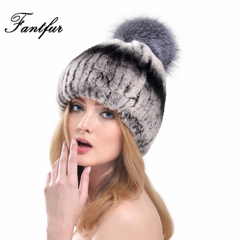 ФОТО FANTFUR Women Genuine Knitted Rex Rabbit Fur Hat With Fox Fur Pom Poms Beanies Super Elastic Winter Warm Thick Real Fur Cap
