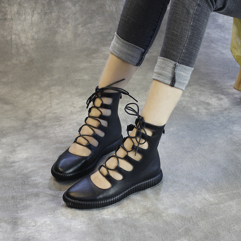 Women Leather Gladiator Boots Spring Shoe White Casual Women Genuine Leather Ankle Boots Flat Heel Handmade Shoe Martin Tyawkiho-in Ankle Boots from Shoes    1