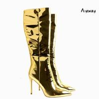 Aiyoway Sexy Women Ladies Pointed Toe High Heel Knee Boots Metallic Mirror Patent Leather Gold Winter Dress Boots Full Zipper