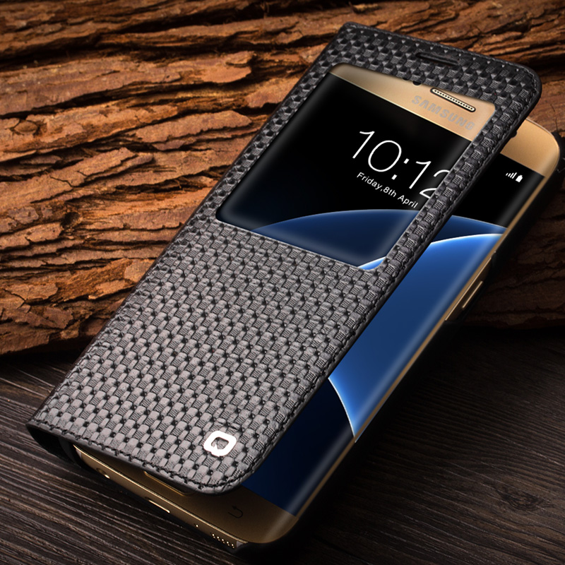 QIALINO 2017 Fashion Pattern Genuine Leather Cover for Samsung Galaxy S7 S7 edge for G9300 for