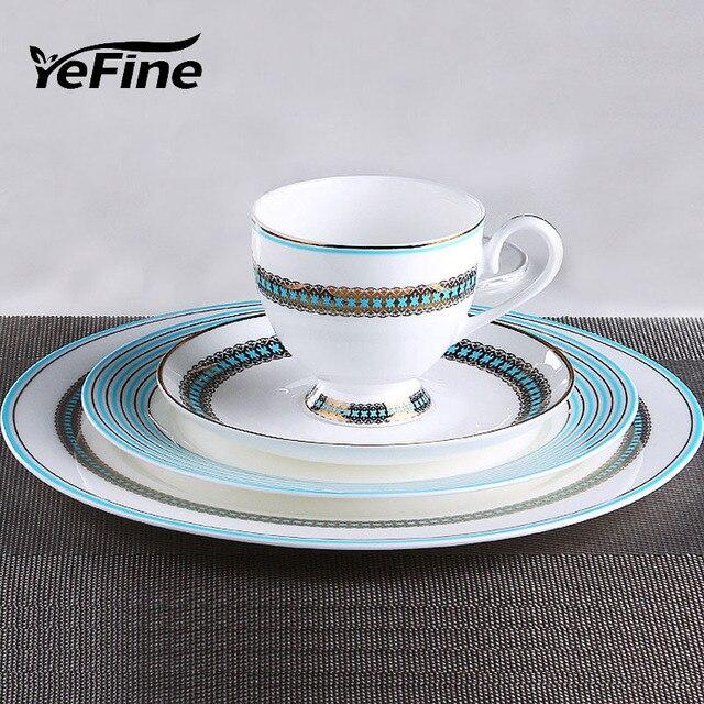 YeFine Gold Plating Bone China Dinnerware High Quality Ceramic Flat Steak Plates Tableware Western Clubhouse Upscale & YeFine Gold Plating Bone China Dinnerware High Quality Ceramic Flat ...