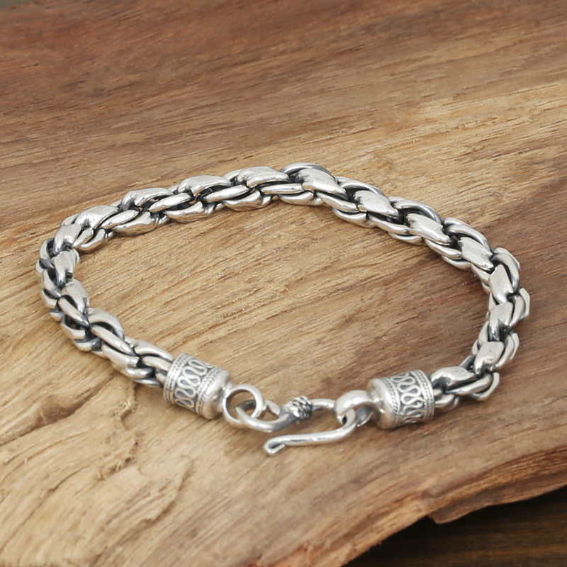 Factory Wholesale S925 Sterling Silver Jewelry Men's Fashion Silver Handmade Retro Thai Silver 7m Coarse Twist Bracelet wholesale s925 sterling silver jewelry men fashion handmade retro thai silver original ring buckle bracelet