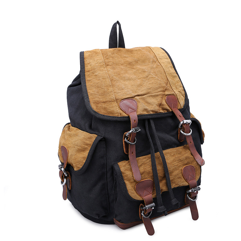New fashion canvas retro backpack student bag unisex two-color stitching computer backpack retro style two front pockets laptop compartment vintage canvas solid color backpack