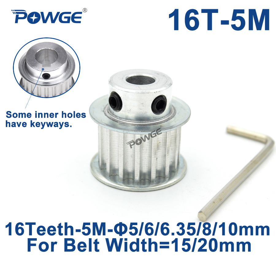POWGE 16 Teeth HTD 5M Synchronous Timing Pulley Bore 5/6/6.35/8/10mm for Belt Width 15/20mm HTD5M Belts gear wheel 16Teeth 16TPOWGE 16 Teeth HTD 5M Synchronous Timing Pulley Bore 5/6/6.35/8/10mm for Belt Width 15/20mm HTD5M Belts gear wheel 16Teeth 16T