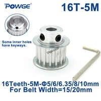 POWGE 16 Teeth HTD 5M Synchronous Timing Pulley Bore 5/6/6.35/8/10mm for Belt Width 15/20mm HTD5M Belts gear wheel 16Teeth 16T
