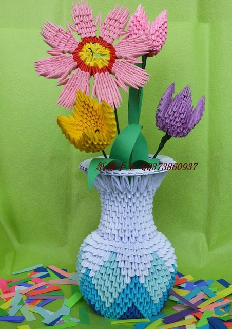 Hot Sale Flower Vase Handmade By 3d Origami Paper Child Craft
