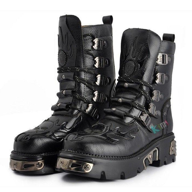 023a9e33e57 US $85.99 |2015 PUNK Rock # MEN'S TOP COOL High Ankle Fashion Army Boot  SHOE Faux leather mens boots EUO39 44-in Men's Costumes from Novelty &  Special ...