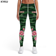 KYKU Green Camouflage Leggings Women Camo Spandex Flower 3d Print Art Printed pants Gothic Leggins Womens Pants Casual